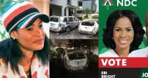 Read more about the article Ebi Bright: NDC PC for Tema Central's Cars reportedly burnt to ashes in her house