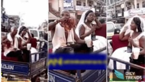 Read more about the article [Watch] Wedding to another level, as couple ride in 'Aboboyaa' and chops love