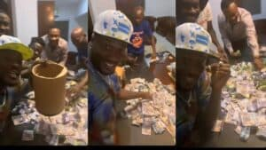 Read more about the article (+Video) Asamoah Gyan displays huge money he made from 'susu box' savings in just 6 months