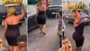 [Watch Video]-Curvy and beautiful lady Selling plantain causes massive stir
