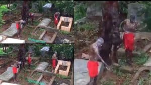 """VIDEO-Sakawa boys bathing in the cemetery for """"money ritual"""" purpose causes stir on the internet"""
