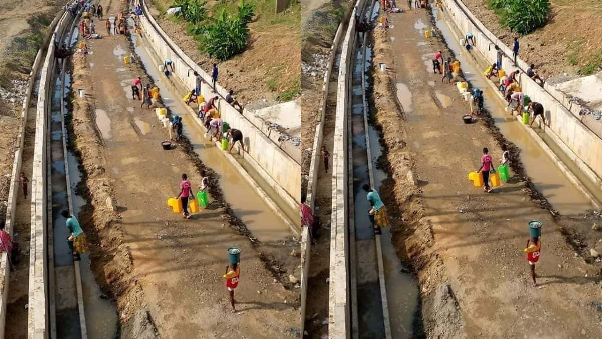 Sad: Photo Of People Fetching Water From Gutter In Tema Drops Online