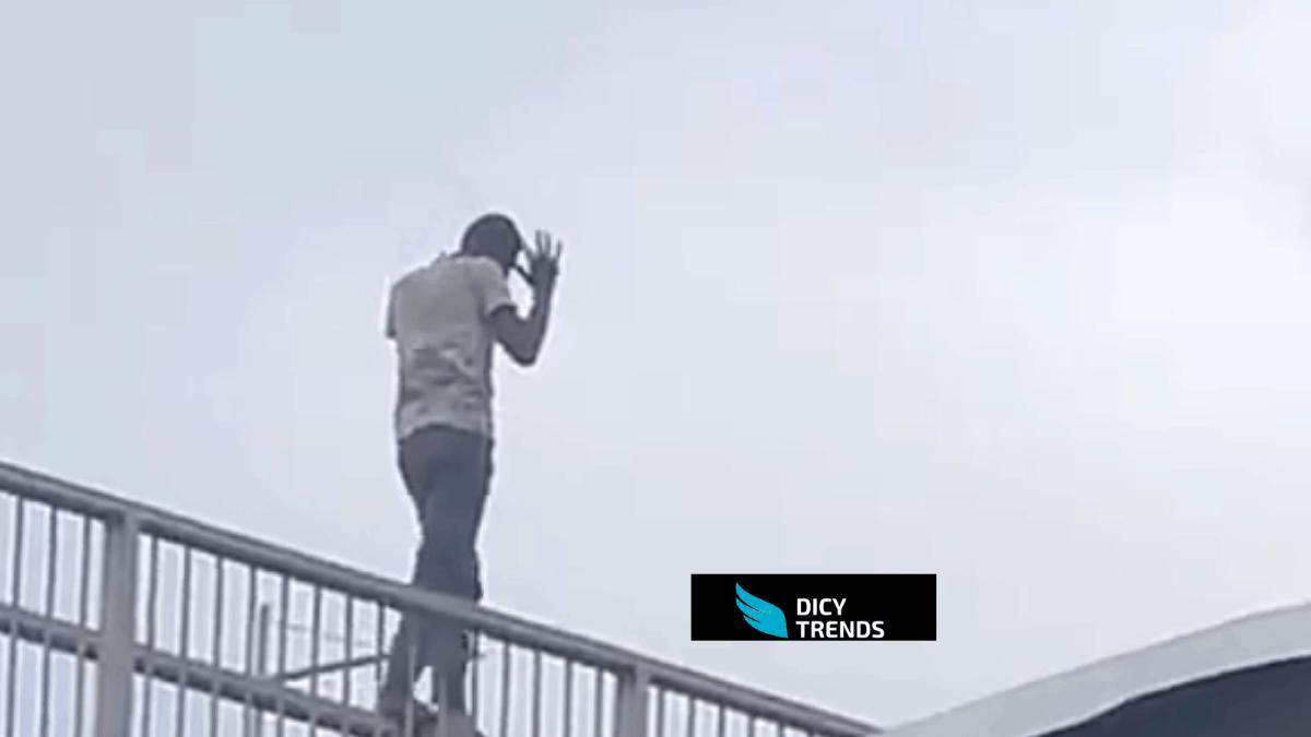 Man Majestically Walks On The Barricade Of The Kasoa Interchange