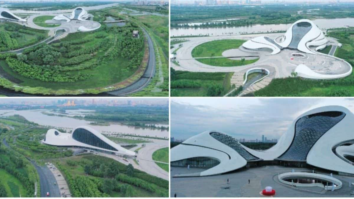Read more about the article Photos of the beautiful Silk Ribbon-Shaped Theater in China Built on River Bank.