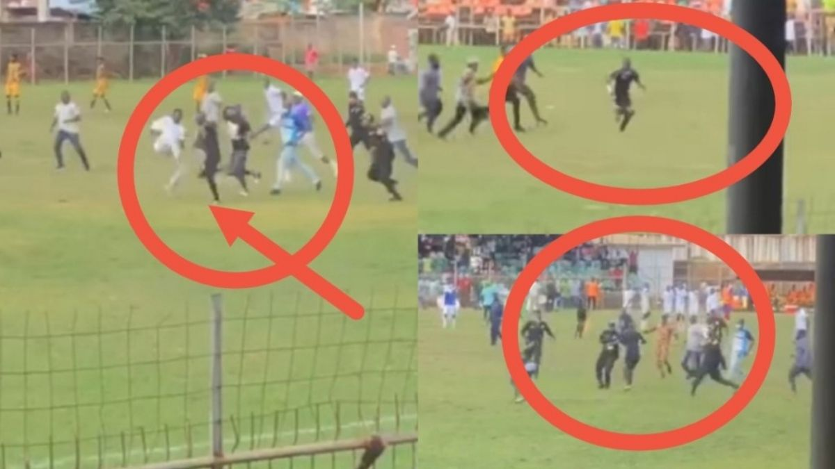 Read more about the article Referee Maxwell Hanson being chased and beaten mercilessly after awarding a penalty kick against BA united