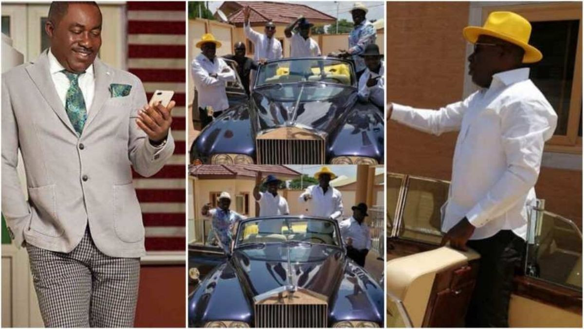 """Read more about the article """"Sika Kasa"""" – Netizens Reacts as Kwame Despite  display one of his luxurious cars to his friends"""