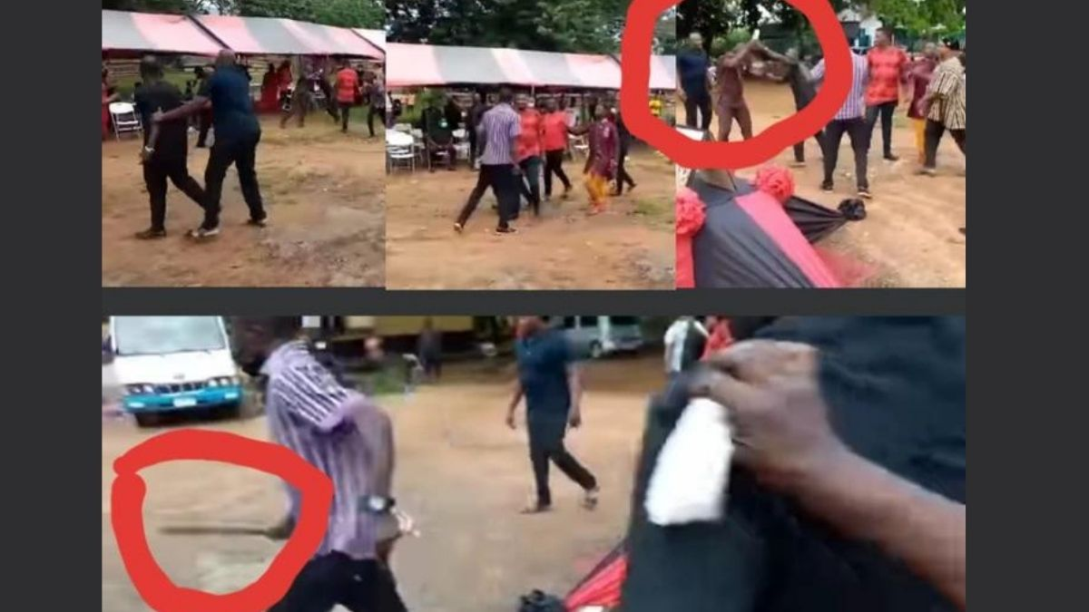 Read more about the article VIDEO- Alleged fans of Alan and Bawumia supporters engage in a gory clash at NPP funeral.